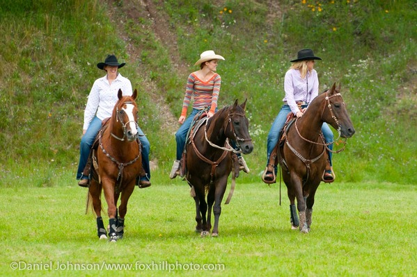 Three women riding Quarter Horses horses, western tack